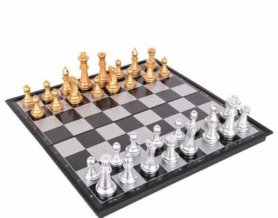 Foldable Magnetic Silver & Gold Chess & Checkers Board Game Set Travelling 36x36