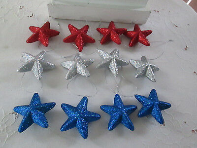 "12pc 3"" Patriotic Red,Silver & Blue Glitter Star Ornaments - 4th of July, New"