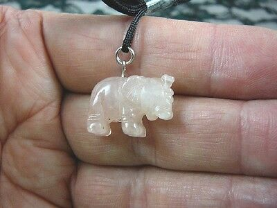 (an-ele-3) baby ELEPHANT PINK Quartz carving Pendant NECKLACE FIGURINE gemstone