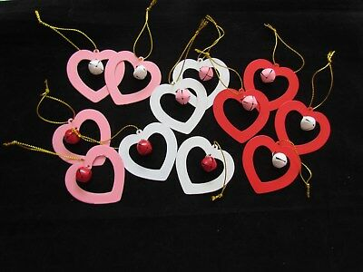 Jingle Bell Heart ornaments Red White Pink Valentine's Day 12 pc NEW last set