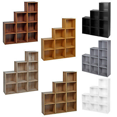 Cube 2 3 4 Tier Wooden Bookcase Shelving Display Storage Shelf Unit Wood Cabinet