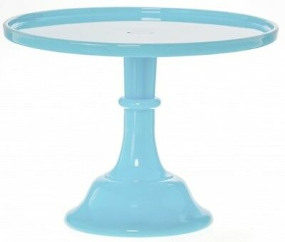Cake Plate Pastry Tray Bakers Cupcake Stand Plain Simple Blue Mosser Glass 10""