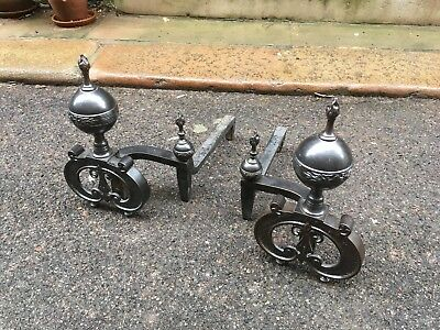 Edwardian empire wrought iron and steel fire dogs or andirons