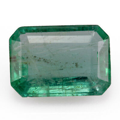 0.77ct Zambian Emerald with great clarity. Emerald cut, light bluish green hue.