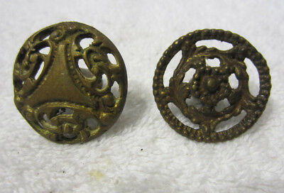 2 Antique solid Brass Ornate French Drawer Knobs Pulls Architectural salvage