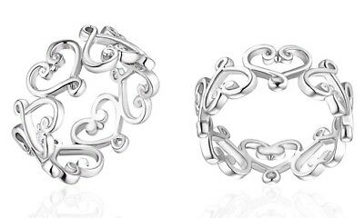 18K White Gold Plated Filigree Heart Ring Size 10