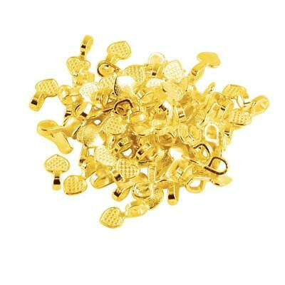 100pc Glue on Bails Pendant Hanger Gold Tone Heart Shaped 16mm Making Crafts