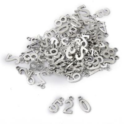 100 Mixed Tibetan Silver Alloy Number 0-9 Charms Pendants DIY Craft Findings
