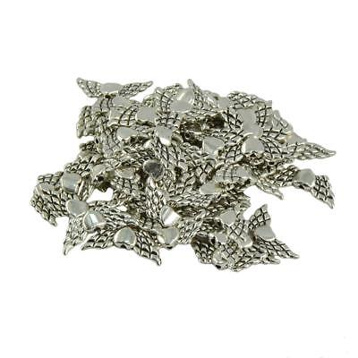 50pcs Tibetan Silver Angel Wing Spacer Charm Beads for Jewelry Making Craft