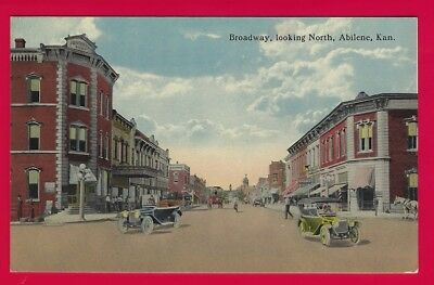 (3930) BROADWAY LOOKING NORTH ~ABILENE KS ~CLOTHING STORE SIGN ~OLD CARS c1920