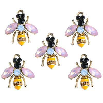 5px Enamel Bee Charms Pendant Beads Gold Rhinestones Jewelry Making Findings