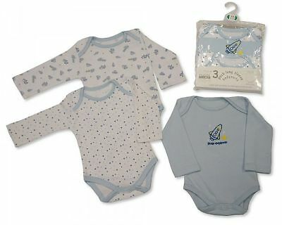 Baby Boys Girls 2 Pack Nursery Time Sleepsuits Babygrows 3 Pack Bodysuits Vests