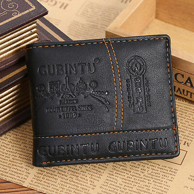 Mens Leather Bifold Wallet Credit/ID Card Receipt Holder Coin Purse Retro Style