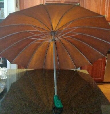 Vintage Umbrella Parasol Bakelite/Lucite handle Brown with Green handle