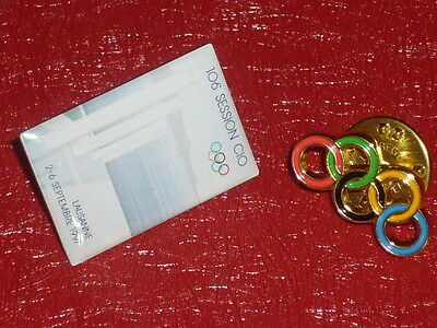 OLYMPIC GAMES 2 PINS IOC - CIO 1997 106e SESSION LAUSANNE Rare Anneaux Rings