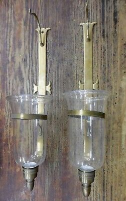 "VTG Large 24"" Brass Wall Sconces Gothic Church Candle Holders Hurricane Lamp Set"