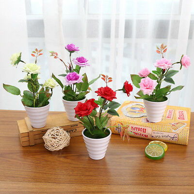 Artificial Chinese Rose Flowers Leaf Bouquet Home Floral Wedding Garden Decor