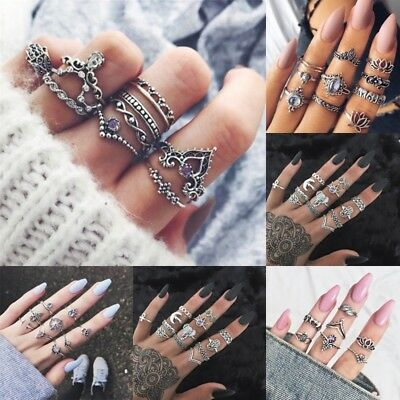 Retro Women Boho Punk Ethnic Geometry Antique Silver Gold Ring Thumb Vintage NEW