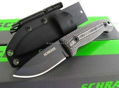 Schrade Small Frontier Fixed Blade Full Tang Micarta Knife Fire Starter SCHF56M