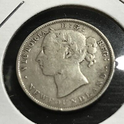 1890 Newfoundland  Sterling Silver 20 Cents Queen Victoria