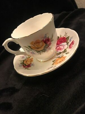 Crown Staffordshire England Tea Cup & Saucer Floral Print Excellent Condition