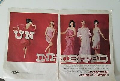 1961 Dupont uninhibited women's pink red lingerie slip vintage 2 page fashion ad