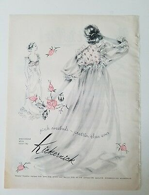 1954 women's KICKERNICK Gown peignoir robe pink rose buds embroidery vintage ad