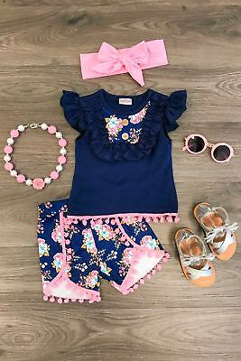 Baby Girls Clothes Ruffle Vest Top T shirt+Flower Shorts Headband Outfits Set