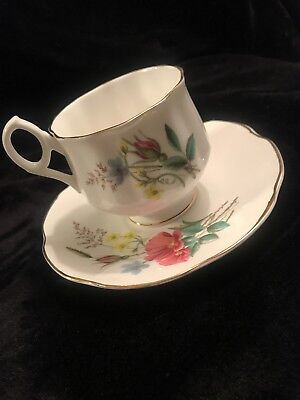 Antique Royal Dover Bone China Tea Cup and Saucer  Gold Rimmed, Floral.