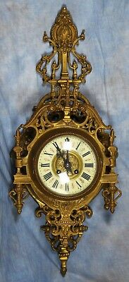 Antique Heavy 19th Century French Bronze Cartel Clock Pendule Japy Freres Medal