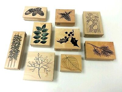 Vtg Lot of 9 Wood Mounted Rubber Stamps Discontinued Nature Trees Leaves RARE