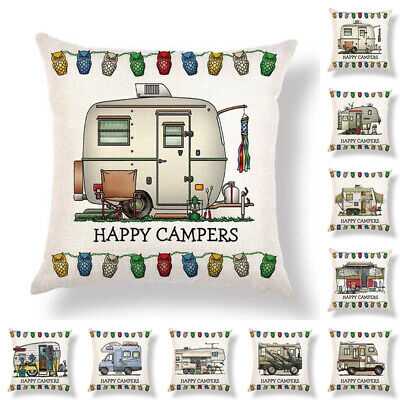 happy camper caravan camping tent Cushion Cover Pillow Case Sofa Home car Decor~