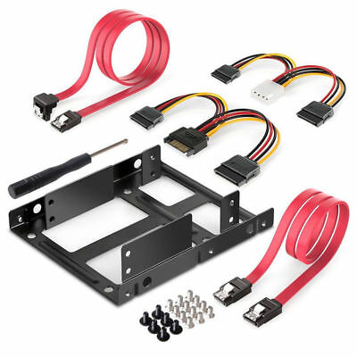 1 Set 2.5 to 3.5'' HDD SSD Mounting Kit Adapter Bracket SATA ATX Fast Data Cable