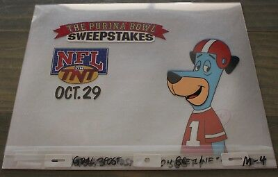Vintage Huckleberry Hound Commercial Animation Art Cel NFL Purina Bowl Football