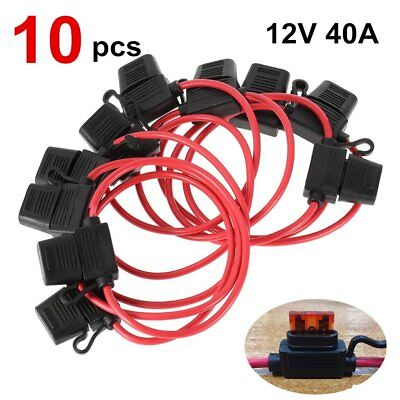 10pc 12V 40A Standard Blade Inline Fuse Holder with Waterproof Dustproof Cover E