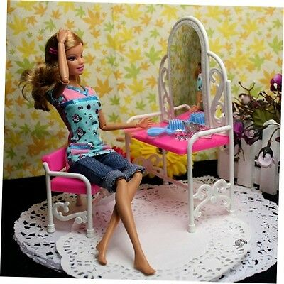 Dressing Table & Chair Accessories Set For Barbies Dolls Bedroom Furniture EC