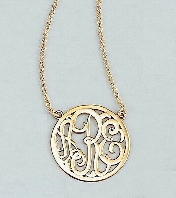 Monogram Necklace 3 letter 25mm 10kt or 14kt rose white or yellow gold