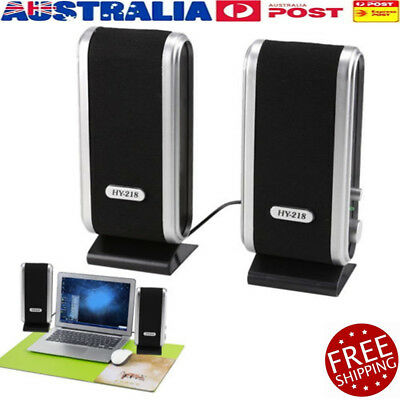2X Black Multimedia Stereo Usb Speakers System For Laptop Desktop Pc Computer Ec