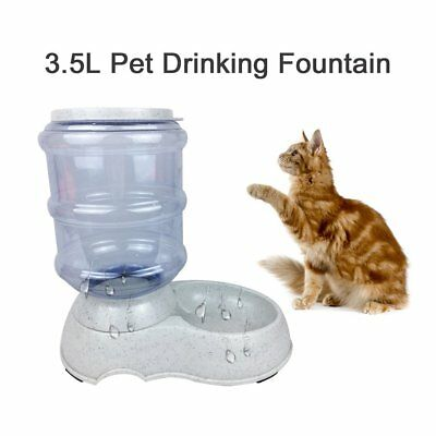 3.5L Automatic Pet Feeder Drinking Fountain Cat Dog Food Bowl Water Dispenser EC