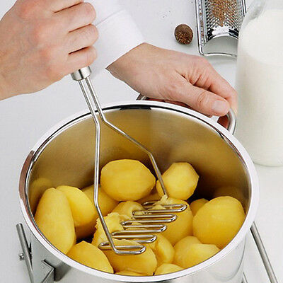 Kitchen Stainless Steel Potato Egg Masher Ricer Vegetable Fruit Crusher Tool  EC