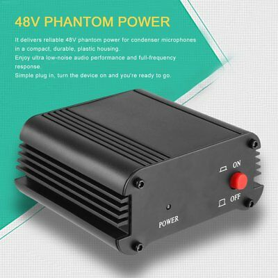 Neewer 1- Channel 48V Phantom Power Supply with Adapter and 1 XLR Audio Cable EC