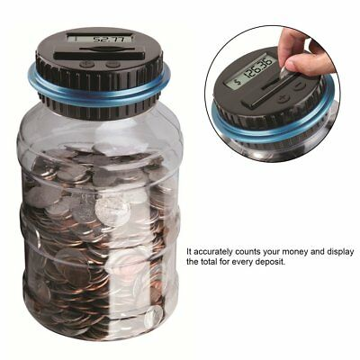LCD Electronic Digital Counting Coin Bank Money Saving Box Jar Counter Bank EC