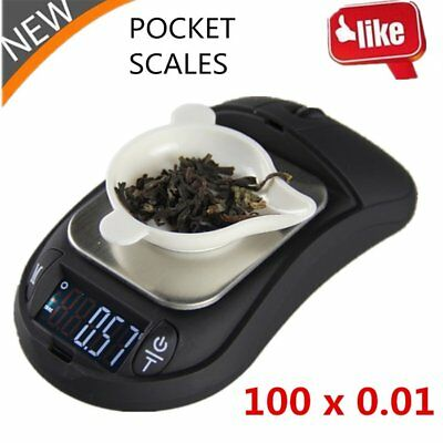 100g x 0.01g Digital Pocket Scale Portable Precision Scales Mouse Style New EC