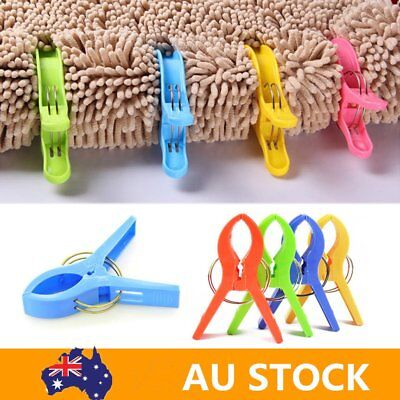 AU Pack of 8 Large Bright Colour Plastic Beach Towel Pegs Clips to Sunbed EC