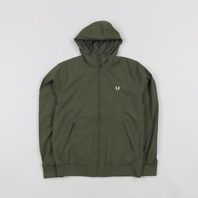 Fred Perry Men's Ripstop Weather Resistant Hooded Brentham Jacket Olive Green