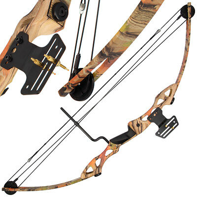 55LB Camo Rambo Style Compound Archery Shooting Bow & Adjustable Sight Hunting