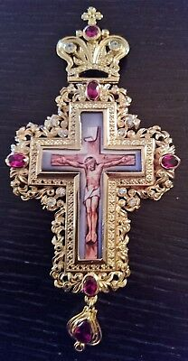 Orthodox Priest Pectoral Cross Gold Plated Red Stones ***FREE SHIPPING***