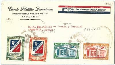 69256 - DOMINICANA - POSTAL HISTORY -  REGISTERED COVER  to  SPAIN  1947