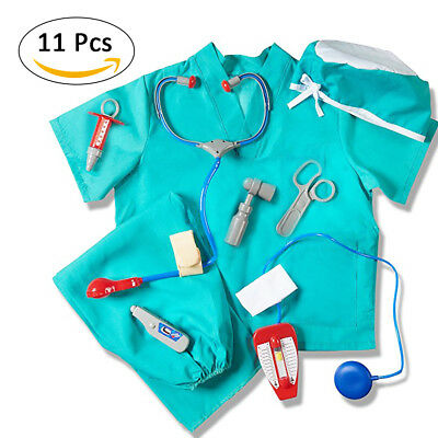 Child Surgeon Doctor Uniform Costume Boys Girls Kids Toddler Dress Outfit Set