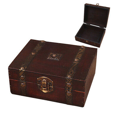 Vintage Small Metal Lock Jewelry Holder Treasure Chest Case Handmade Wooden Box